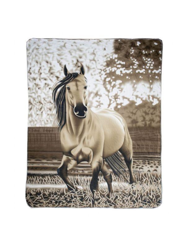 Plaid uit fleece -groep paarden-