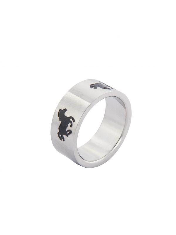 Ring -Zwart galopperend paard-, RVS