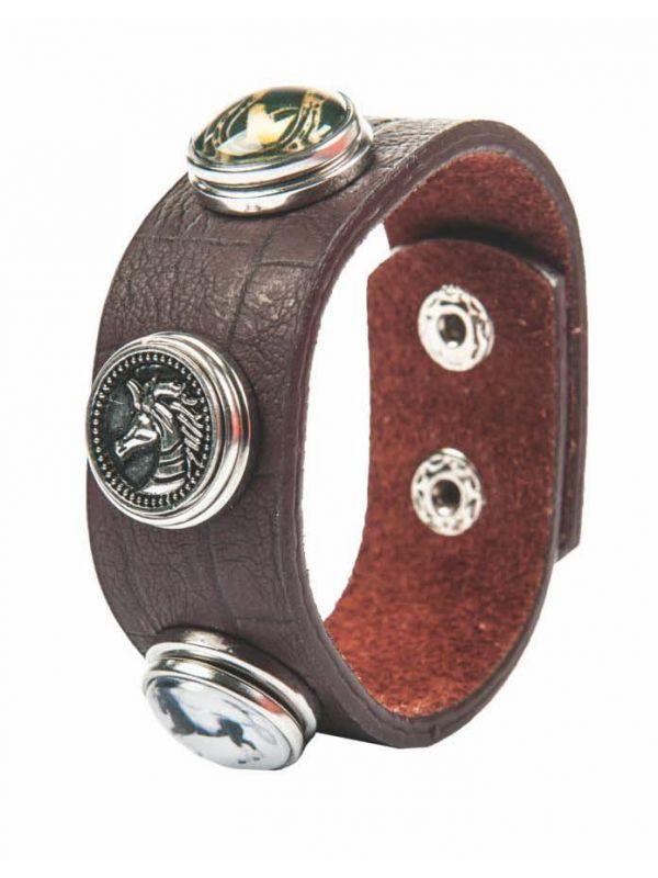 Armband -Paard, hoefijzer, paardenhoofd + 2 knopen