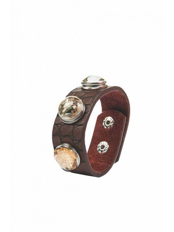 Armband -bruin, hoefijzer,mozaiek + 2 knopen