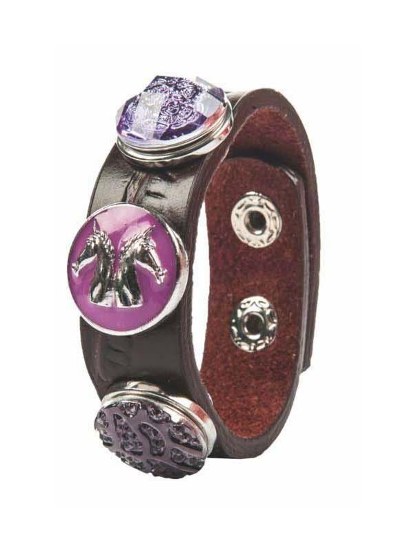 Armband, paarse bloem, paardenhoofden, paars + 2 knopen