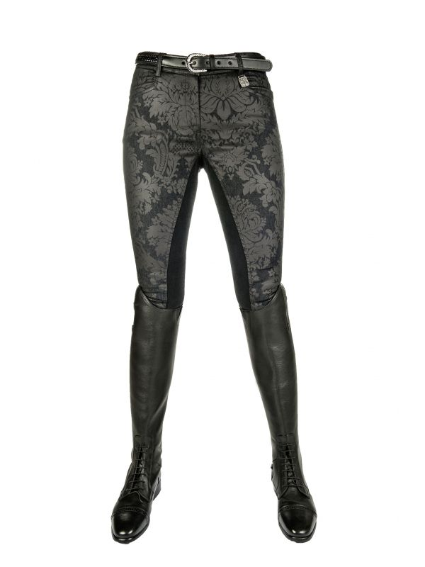 Rijbroek Denim -Black Flower- 3/4 Alos