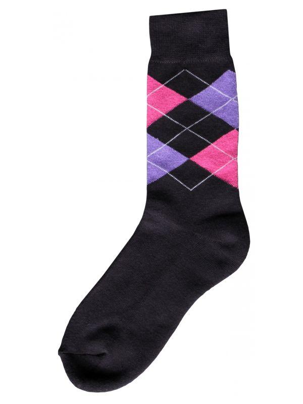Ruitersok d.grijs/roze/paars